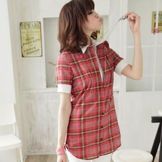 Buy OrangeBear Inset Shirt Plaid Shirt 1023045516