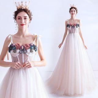 Spaghetti | Wedding | Flower | Strap | Dress