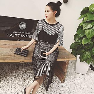 Set: Short-Sleeve Striped T-Shirt Dress + See Through Strappy Dress 1050515528