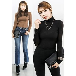 Mock-Neck Slim-Fit Ribbed Top 1056043539