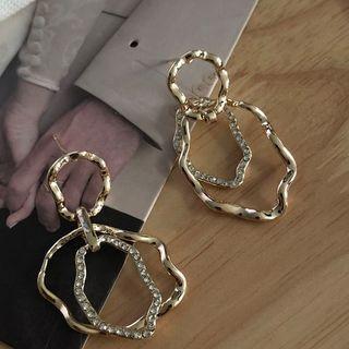 Rhinestone | Earring | Dangle | Wavy | Hoop | Gold | Size | One