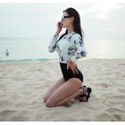 Floral Print Long-Sleeve Swimsuit 1596