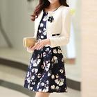 Set: Cropped Jacket + Sleeveless Floral Dress 1596