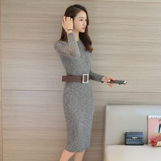 Long Sleeve Rib Knit Midi Dress 1054321847