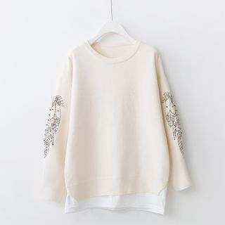 Leaf Embroidered Beaded Sweater 1057247912