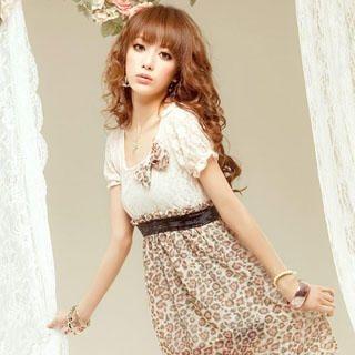 Buy Sylvia Mock Two-Piece Leopard Chiffon Dress Pink – One Size 1022976236