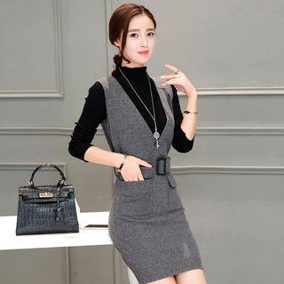 Set: Mock Neck Long-Sleeve Knit Top + Belted Pinafore Dress 1054107853