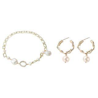Bracelet | Earring | Pearl | Hoop | Open | Faux | Gold | Size | One | Set