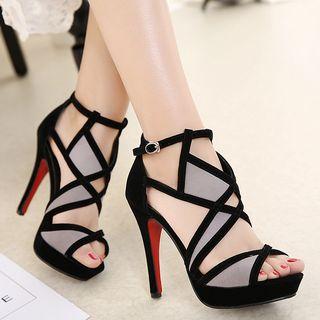 Peep Toe Cutout High Heel Sandals 1062439435