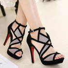 Peep Toe Cutout High Heel Sandals 1596