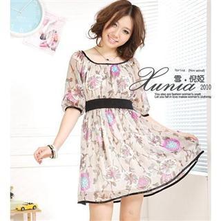 Buy Xunia Floral Print Chiffon Dress 1022586361