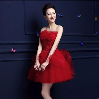 Strapless Lace Appliqu  Mini Pom Dress 1045144164