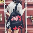 Heart Applique Canvas Backpack 1596