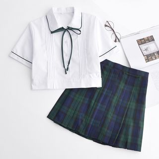 Image of Short-Sleeve Bow-Accent Top/Plaid Skirt/Cardigan