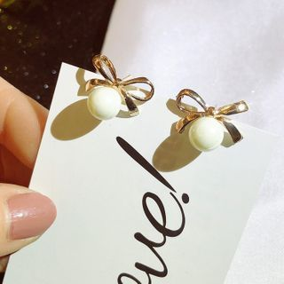 Image of Alloy Bow Faux Pearl Earring 1 Pair - As Shown In Figure - One Size