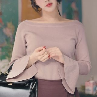 Bell-Sleeve Boatneck Knit Top 1064184552