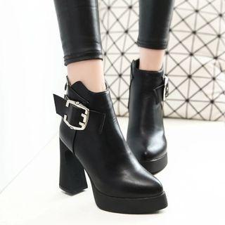 Platform Block Heel Pointy Ankle Boots