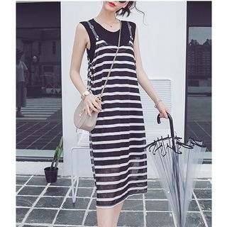 Set: Tank Dress + Striped Spaghetti Strap Chiffon Dress