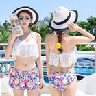 Set: Lace Bikini + Floral Swim Shorts 1596