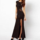 Lace Panel Cap-Sleeve Maxi Party Dress 1596