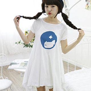 Buy Dodostyle Short-Sleeve A-Line Dress Navy Blue – One Size 1022825625