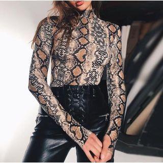 High Neck Snake-Print Bodysuit