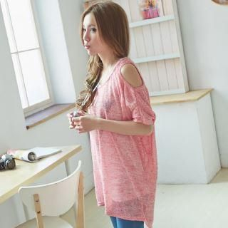 Women's Cut-Out-Shoulder Dolman-Sleeve Knit Dress Berry Red - One Size