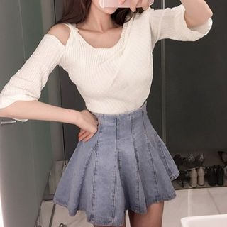 Cutaway-Shoulder Knit Top 1059495443
