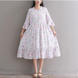 Clover Dream Floral Elbow-Sleeve Midi A-Line Dress
