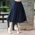 Plain A-Line Midi Skirt 1596