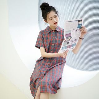 Collar | Plaid | Shirt | Dress | Polo | Blue | Size | Red | One