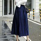 Accordion Pleat Midi Velvet Skirt 1596