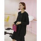 Set: Open-Front Cardigan + Sleeveless Ruffle-Hem Mini Dress 1596