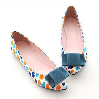 Bow-Accent Heart-Print Flats