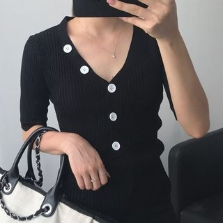 3/4 Sleeve Ribbed Knit Top 1061614659
