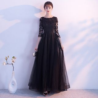 Image of 3/4 Sleeve Lace Panel A-Line Evening Gown