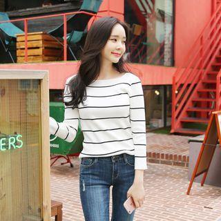 Striped Slim-Fit Knit Top 1056622805