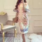 Floral Elbow Bell Sleeve Midi Dress 1596