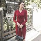 V-Neck Shirred Sheath Dress 1596