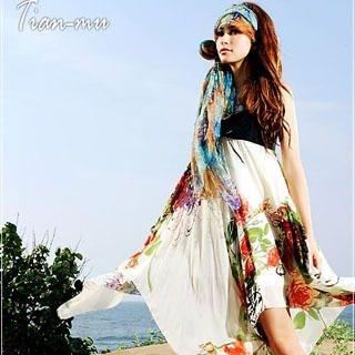 Buy Tian Mu Floral Print Chiffon Dress Rose on Almond – One Size 1022997866