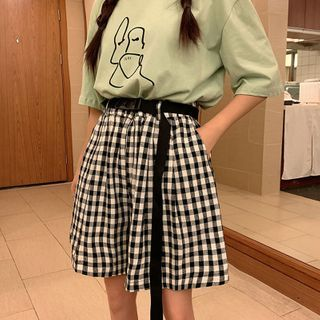 Image of Drawstring Plaid Wide Leg Shorts