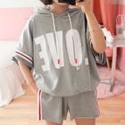 Set: Lettering Short-Sleeve Hoodie + Sweat Shorts 1596