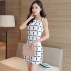 Check Sleeveless Mini Pencil Dress 1596