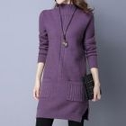 Turtleneck Long-Sleeve Sweater Dress 1596