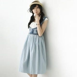 Picture of BAIMM Inset Top Denim Dress 1023030003 (BAIMM Dresses, Womens Dresses, China Dresses)