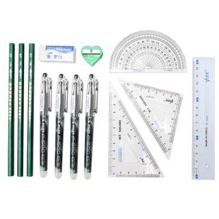 Image of Exam Stationery Set: Pencil + Pen + Pencil Sharpener + Compass + Protractor + Eraser