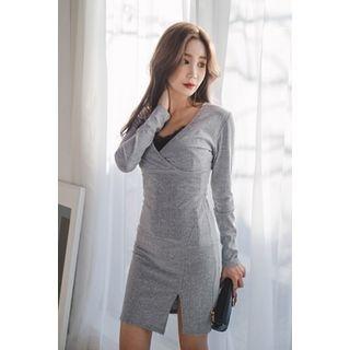V-Neck Slit-Front Ribbed Dress 1057082034
