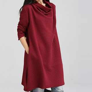 Image of Cowl-Neck Textured Shift Dress