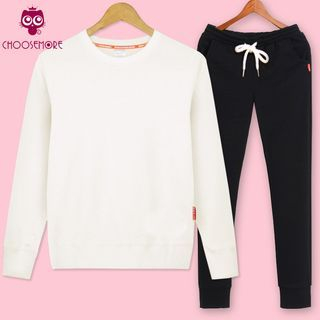 Set: Plain Pullover + Drawstring Jogger Pants 1058405102