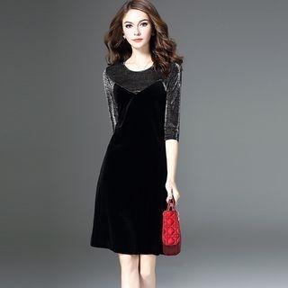 Mock Two-Piece 3/4-Sleeve Dress 1064005162